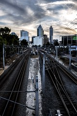 Next Stop Perth (Photos By Dlee) Tags: street city sunset sky urban lines station clouds train canon rail australia perth cbd leading westernaustralia citycentre 6d canon6d canonef35mmf2is photosbydlee photosbydlee13