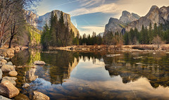 The old cathedrals are good, but the great blue dome that hangs over everything is better…[explored] (ferpectshotz) Tags: reflections river boulders yosemitenationalpark peaks elcapitan bridalveilfalls valleyview yosemitevalley mercedriver granitecliffs