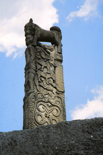 Huge decorated tombstone slab