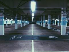 Underground Car Park (williampilgrim393) Tags: blue light white lines night grey one no spooky late around leadinglines skateboading