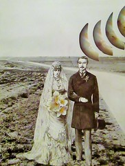A Wedding Lost In Time and Space (joannmuench) Tags: flowers wedding collage vintage landscape outside outdoors groom bride couple earth antique surreal retro planet bouquet brideandgroom desertloca joannmuench surrealismcutandpaste