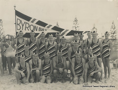 Byron Bay Surf Life Saving Team, 1950. (RTRL) Tags: byronbay surfclub surflifesaving