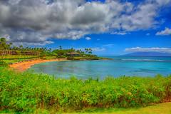 Kapalua Bay (MatthewPerry) Tags: ocean blue sky mountain tree beach clouds hawaii lava pacific maui palm kapalua lahaina