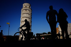 The Bicycle (marcellopantaloni) Tags: leaningtower siluette pisa tower street people bicycle