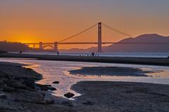 Golden Sunset (AgarwalArun) Tags: sonya7m2 sonyilce7m2 sony sanfrancisco goldengatebridge goldengate bayareacalifornia iconicbridge pacificocean ocean bridge marincounty scenic views landscape reflections fog marinelayer crissyfield