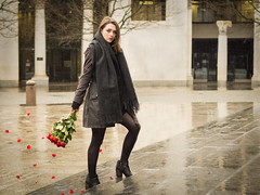 Roses on the Steps (mayflys_reach) Tags: imogen imogenx unexpectedtales availablelight beauty brunette england girl glamour london naturallight olympus portrait people penf stpaulscathedral woman roses petals red city