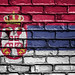 National Flag of Serbia on a Brick Wall