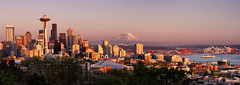 Seattle Waterfront Panorama (Michael Riffle) Tags: seattle sunset panorama ferry skyline canon outdoors photography washington spring downtown cityscape waterfront northwest rainier pacificnorthwest spaceneedle pugetsound kerrypark mtrainier goldenhour 2013 michaelriffle