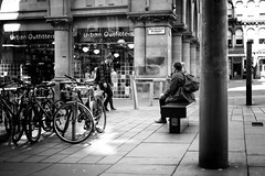 Bikes and Butty (stephen cosh) Tags: life street city people blackandwhite bw sepia mono scotland town glasgow candid streetphotography rangefinder reallife humancondition blackandwhitephotos 50mmsummilux blackwhitephotos leicam9 stephencosh leicammonochrom leicamm