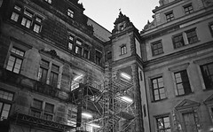 Dresden, old town renovation (gibberpl) Tags: leica bw analog zeiss 35mm landscape dresden ngc rangefinder 400 hp5 rodinal ilford m6 carlzeiss biogon 352 mmount drezno biogon35mm