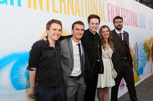 Jamie Chambers, Patrick Wallace, Andrew Rothney, Scarlett Mack, James Barrett and another cast member at the photocall for Blackbird outside the Filmhouse