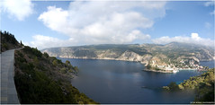 kefalonia greece assos panorama (Sytse Winkel) Tags: blue sunset panorama water pool swimming way stars star harbor boat greece shutters shooting milky kefalonia zola assos agia efemia