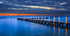Dawn in Narrabeen (**James Lee**) Tags: ocean bridge sunset sky panorama seascape beach pool clouds sunrise pano sydney australia nsw narrabeen oceanpool 100commentgroup mygearandme