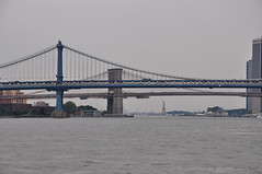 Manhattan & Brookyln Bridges And Statue Of Liberty (Ryan Hadley) Tags: newyorkcity bridge sculpture usa newyork art statue river manhattan manhattanbridge eastriver statueofliberty libertyisland rivercruise brookylnbridge