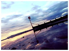 Purple beach (sonofadkin) Tags: sky reflection beach fence sand bank reflect marker barrier beacon groyne defence redcarbeach uploaded:by=flickrmobile flickriosapp:filter=nofilter