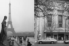 Tour Eiffel et théâtre des Champs Elysées 1979 (Loran de Cevinne) Tags: ilford ilfordfp4 vintage vintagescan paris1979 1979 blackwhite noiretblanc trocadéro théâtredeschampselysées chevroletimpalawagon lorandecevinne
