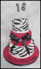 Pink & leopard print 18th birthday cake (A Cherry On Top Scotland) Tags: birthday pink cake scotland fife brooch 18th birthdaycake leopardprint 18 burntisland tiered animalprint cherryontop clairesara