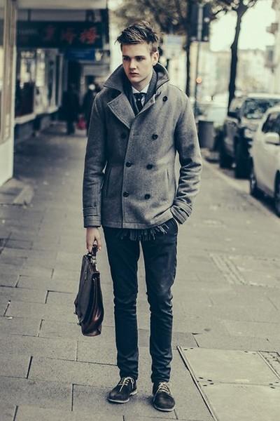 Grey Pea Coat Mens Fashion