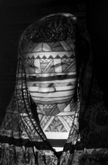 B20 (Christine) Tags: blackandwhite girl scarf aztec african patterns headscarf tribal teen teenager prints braids lookingdown blackgirl teenphotography projectedimage asphotography collegephotography flickrandroidapp:filter=none