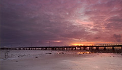 Shorncliffe Sunrise (Beth Wode Photography) Tags: ocean sea seascape colour beach clouds sunrise canon gold pier sand beth jetty brisbane lowtide shorncliffe bramblebay wode 5dmarkiii bethwode vision:sunset=0868 vision:clouds=0893 vision:outdoor=0917 vision:sky=0885 vision:car=0599 pinksyellow