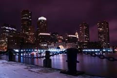 Boston mythic (samuel.badina) Tags: ocean city urban usa reflection building boston night america lights chains dock nikon flickr purple cloudy chain 1855 nikkor ville 30s d3100 pwwinter