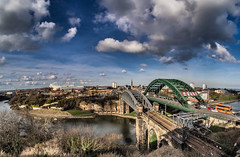 Wearmouth Bridge. (CWhatPhotos) Tags: wearmouth bridge wear river photographs photograph pics pictures pic picture image images foto fotos photography artistic cwhatphotos that have which with contain epl5 olympus pen lite esystem four thirds digital camera lens olympuspen sanyang 75mm 35 f35 fisheye fish eye samyang manual focus wide view 43 fit mft micro blue sky skies skys clouds cloudy day sunderland north east england football footy 2014 red white redandwhiteafc club sunderlandafc stadia stadium light ground arena safc