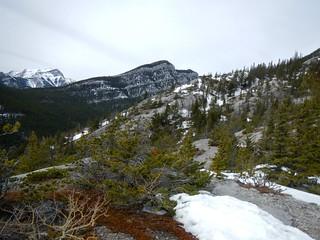 Doorjamb Mt Attempt - Exhaw Ridge to the left (west)