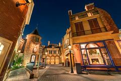 Streets of Paris (TheTimeTheSpace) Tags: paris france streets night stars epcot nikon disney disneyworld shops waltdisneyworld hdr d800 worldshowcase