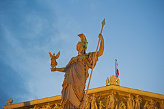 Athena (Banana Muffin (Antonio)) Tags: vienna wien park city blue sky sculpture cloud building art architecture austria nikon downtown flag parliament center hour rathaus athena d700