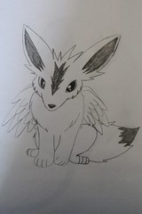 Mythical Canine Drawing (Vegan Butterfly) Tags: cute art pencil paper wings wolf drawing adorable ears canine fox mythical