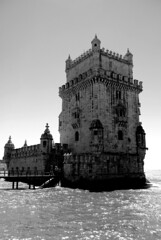 Torre de Belm in black and white (zawtowers) Tags: city summer white holiday black tower history portugal monument water monochrome sunshine weather architecture river de mono warm break torre lisboa lisbon july dry sunny historic surrounding tagus belm torredebelm 2015