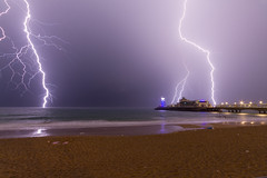 Bournemouth Lightning Storm 030715b (mpelleymounter) Tags: thunderstorm bournemouthpier seaandsky lightningstorm bournemouthbeach dorsetnight markpelleymounter lightningbythepier