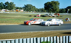 23 Jun 1990 - Ford Sierra Cosworth RS500 driver Peter Brock [05] overtakes Colin Bond [8] at the esses during Saturday practice for Round 7 of the Shell Australian Touring Car Championship being held at Wanneroo Raceway, Neerabup, Western Australia, Austr (aussiejeff) Tags: 1990 wanneroo wa barbagallo raceway australia cosworth rs500 motor race racing touring western historic peterbrock colinbond classic jeffc aussiejeff caltex mobil shell autosport auto car action speed