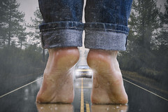 Watch out! There's something on the road! (ajastaika) Tags: digitalart illustration photoshop composite komposiitti road lada feet legs jeans imagination wet wetlook slippery danger dangerous traffic car