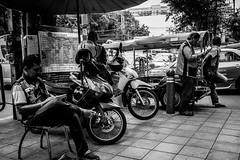 Rider Stop | Bangkok 2016 (Johnragai-Moment Catcher) Tags: people photography blackwhite blackandwhite momentcatcher monocrome bangkokstreet bangkok street streetmoment streetphotography streetlife johnragai johnragaiphotos johnragaistreet johnragaibw