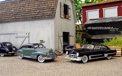 1948 Chevrolet Fleetline AeroSedan & 1949 Cadillac Series 62 Sedanette Club Coupe (JCarnutz) Tags: 124scale diecast danburymint neoscalemodels 1948 chevrolet fleetline 1949 cadillac series62