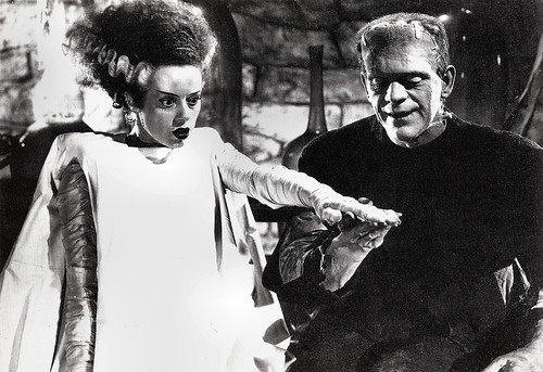 Boris Karloff and Elsa Lanchester in Bride of Frankenstein (1935)