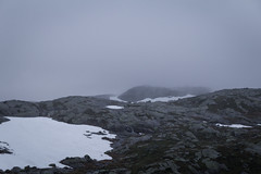 Outpost II (Serious Andrew Wright) Tags: norway rogaland lysebotn weather snow overcast cloud cabin light wet outpost hill mountain rock dismal