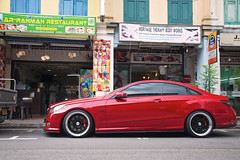 82 - Dreams (4oClock) Tags: carsinsingapore singapore sg50 2015 nikon asia city urban republic 2009 2013 streetparking red merc mercedesbenz eclass coupe littleindia german custom customised blackrims wheels massage restaurant lowered car luxury mercedes worldcars