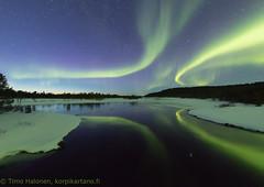 Nice reflection on river (Hotel Korpikartano) Tags: auroraborealis northernlights inarilapland laplandfinland revontulet