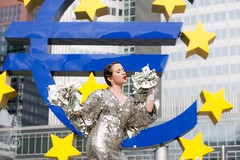 Coco And the European Central Bank (rdgmck) Tags: coco nobel ecb european central bank burlesque burlesquedancer dessous streetphotography street dance