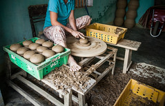 Woman sitting and refining raw pottery products ([ 117 Imagery ]) Tags: family tourism river shopping hands asia southeastasia handmade traditional culture craft visit tourist vietnam hoian pot souvenir clay pottery production tradition handcraft craftmanship touristdestination traveldestination quangnam quangnamdanang