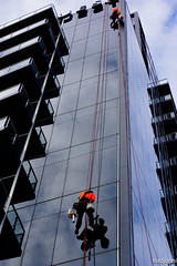 Quest (badjonni) Tags: city windows tower cables hanging officeblock guyswindowwashers