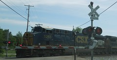 CSX Westbound - Ravenna, Ohio (bjebie) Tags: railroad ohio train engine locomotive railroadcrossing railroadtracks csx ravennaohio portagecountyohio
