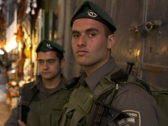 (Caitlin H. Faw) Tags: city light shadow portrait man color men face hat canon army eos israel gun military jerusalem may soldiers 5d beret oldcity idf walled yerushalayim markiii 2013 israeldefenseforces caitlinfaw caitlinfawphotography
