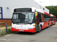 Grant Palmer Scania BU53WAY (with guide wheels for the Luton - Dunstable busway) at the Grant Palmer depot in Flitwick (Mark Bowerbank) Tags: for busway with grant wheels palmer depot guide luton dunstable scania flitwick bu53way