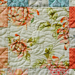 Peach 9-patch - quilting detail (Huntspatch Quilts) Tags: quilt peach quilting 9patch heatherbailey fmq n1308108314