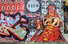 Chien moutarde (J-C-M) Tags: street city urban dog streetart art wall graffiti hotdog artwork alley nikon artist grafitti artistic australia melbourne wallart victoria inner alleyway lane mustard laneway d200 prahran dabs myla