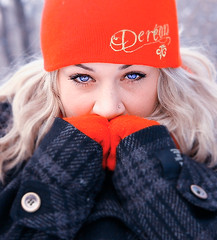 chilly (kenlastrella) Tags: winter red cold face hair winnipeg manitoba toque stare pierce winterpeg mitts