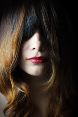 Lips (Jhona Gonzalez) Tags: shadow red woman black cute girl hair studio rojo model skin ella lips linda bella ragazza